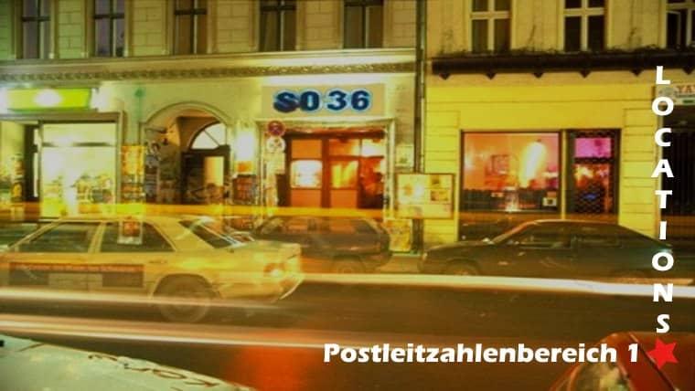 Das Bild zeigt eine Veranstaltungsstätte aus dem Postleitzahlengebiet 1. Es ist beschriftet mit Postleitzahlenbereich 1, einem Rotem Stern und Locations