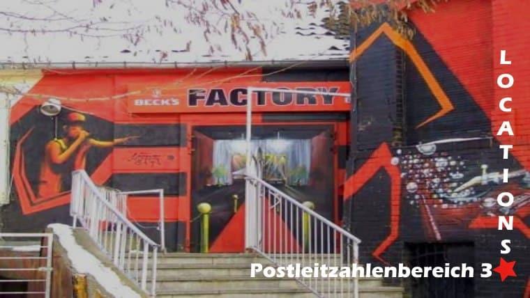 Das Bild zeigt eine Veranstaltungsstätte aus dem Postleitzahlengebiet 3. Es ist beschriftet mit Postleitzahlenbereich 3, einem Rotem Stern und Locations