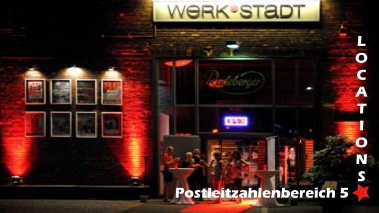 Das Bild zeigt eine Veranstaltungsstätte aus dem Postleitzahlengebiet 5. Es ist beschriftet mit Postleitzahlenbereich 5, einem Rotem Stern und Locations